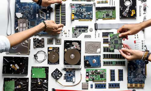 EAerial view of electronic equipment technology
